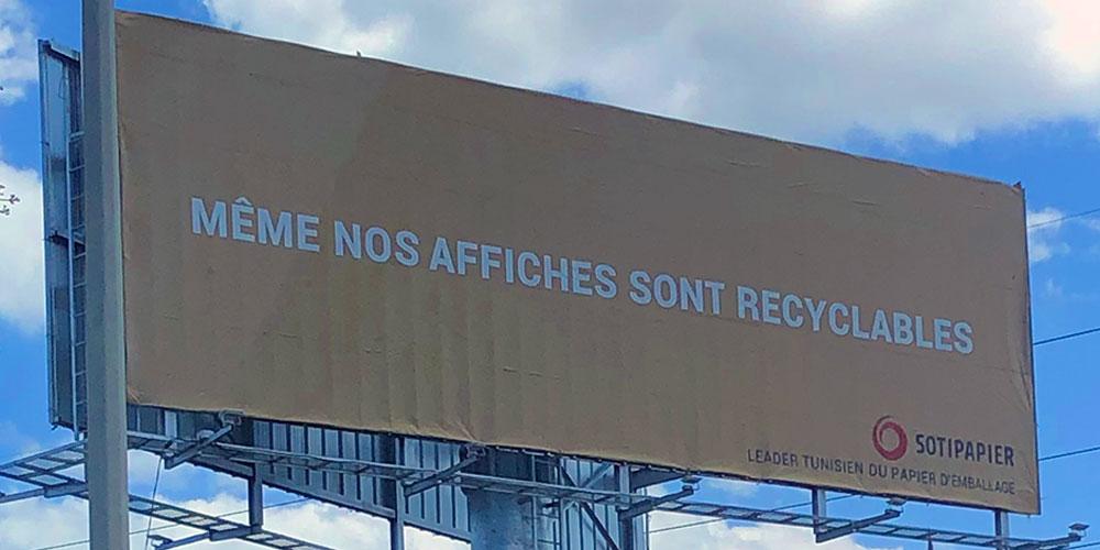 Une campagne d'affichage urbain faite en papier recyclé